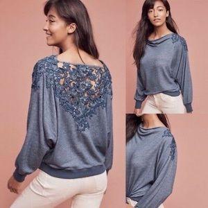 Anthro Meadow Rue Bria Lace Back Sweatshirt Top